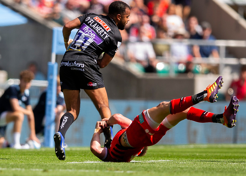 Exeter Chiefs' Tom O'Flaherty in action during todays match<br /> <br /> Photographer Bob Bradford/CameraSport<br /> <br /> Gallagher Premiership Final - Exeter Chiefs v Saracens - Saturday 1st June  2018 - Twickenham Stadium - London<br /> <br /> World Copyright © 2019 CameraSport. All rights reserved. 43 Linden Ave. Countesthorpe. Leicester. England. LE8 5PG - Tel: +44 (0) 116 277 4147 - admin@camerasport.com - www.camerasport.com