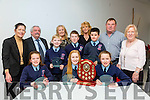 Winners Ardfert NS at County Final of the Primary schools debating competition at the Education Centre Dromtacker on Tuesday. Pictured winning students Sean Brosnan Katie Hussey, Jack Carney, Fiona Sheehan, James Baxter, Avril Barrett with back l-r Caitríona Ná Cullota (Dir Education Centre, Dromtacker, Tralee), Sean Lyons,(adjudicator) ,Betty Stack (principal), Lynda Randles, Teacher, Mike O'Connor, (adjudicator) and Brid Cotter, (adjudicator)