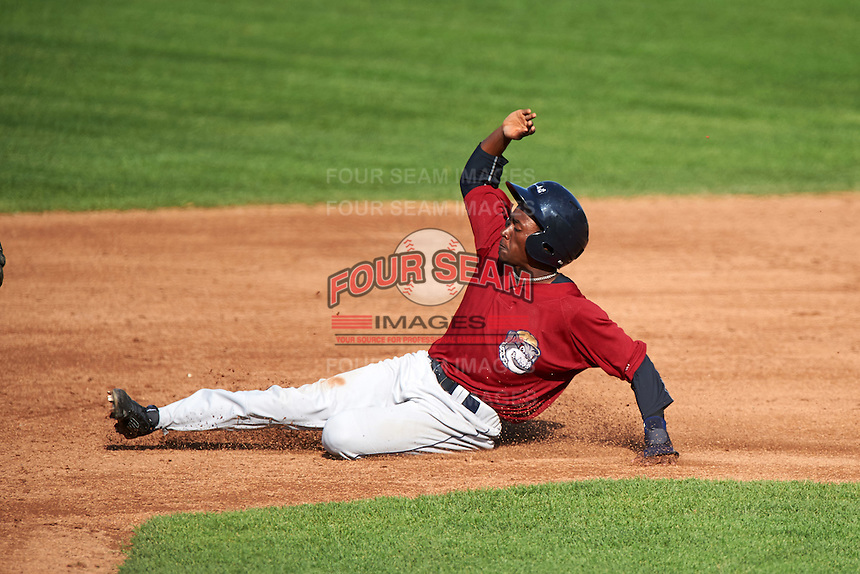 Mahoning Valley Scrappers center fielder Gabriel Mejia (1) slides into second attempting to steal during a game against the Auburn Doubledays on July 17, 2016 at Falcon Park in Auburn, New York.  Mahoning Valley defeated Auburn 3-2.  (Mike Janes/Four Seam Images)