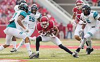 Hawgs Illustrated/BEN GOFF <br /> Deon Stewart, Arkansas wide receiver, picks up extra yards after a catch in the first quarter against Coastal Carolina Saturday, Nov. 4, 2017, at Reynolds Razorback Stadium in Fayetteville.