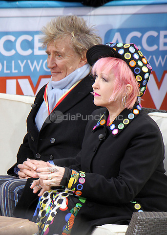 NEW YORK, NY - JANUARY 25:  Rod Stewart, Cyndi Lauper pictured on the set of Access Hollywood in New York City on January 25, 2017. Credit: RW/MediaPunch