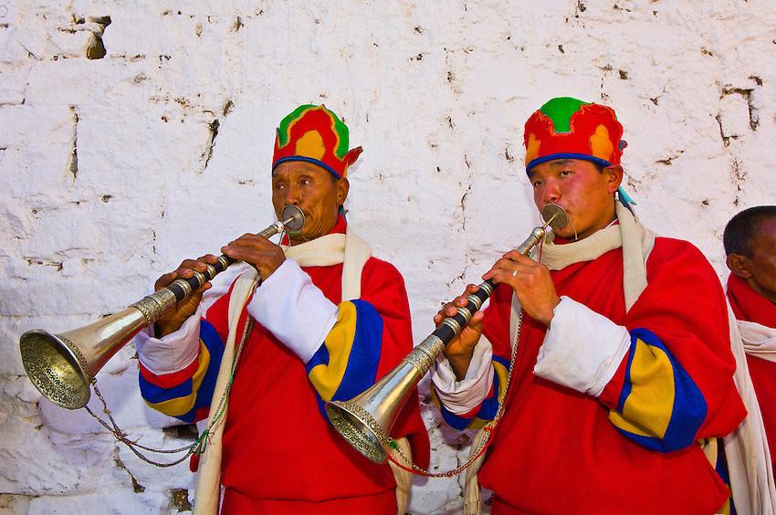Musicians playing horns, Paro Tsechu (festival), Paro, Bhutan