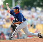 12 March 2008: Washington Nationals' pitcher Chad Cordero on the mound during a Spring Training game against the Los Angeles Dodgers at Holman Stadium, in Vero Beach, Florida. The Nationals defeated the Dodgers 10-4 at the historic Dodgertown ballpark. 2008 marks the final season of Spring Training at Dodgertown for the Dodgers, as the team will move to new training facilities in Arizona starting in 2009 after 60 years in Florida...Mandatory Photo Credit: Ed Wolfstein Photo