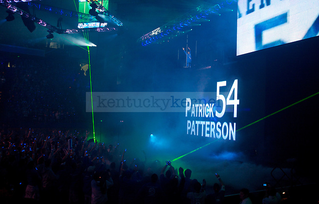 Junior forward Patrick Patterson waves from above a giant video screen during the introduction of the Men's basketball team during Big Blue Madess on Oct., 16, 2009 in Rupp Arena...Photo by Ed Matthews