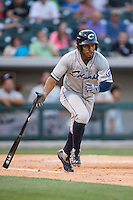 Francisco Lindor (12) of the Columbus Clippers starts down the first base line during the game against the Charlotte Knights at BB&T BallPark on May 27, 2015 in Charlotte, North Carolina.  The Clippers defeated the Knights 9-3.  (Brian Westerholt/Four Seam Images)