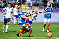 20190813 - ANDERLECHT, BELGIUM : Fault by Linfield's Kelsie Burrows (14) on Anderlecht's Charlotte Tison (20) pictured during the female soccer game between the Belgian RSCA Ladies – Royal Sporting Club Anderlecht Dames and the Northern Irish Linfield ladies FC , the third and final game for both teams in the Uefa Womens Champions League Qualifying round in group 8 , Tuesday 13 th August 2019 at the Lotto Park Stadium in Anderlecht , Belgium  .  PHOTO SPORTPIX.BE | STIJN AUDOOREN