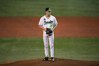 Hillsboro Hops relief pitcher Harrison Francis (24) gets ready to deliver a pitch during a Northwest League game against the Salem-Keizer Volcanoes at Ron Tonkin Field on September 1, 2018 in Hillsboro, Oregon. The Salem-Keizer Volcanoes defeated the Hillsboro Hops by a score of 3-1. (Zachary Lucy/Four Seam Images)