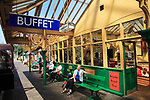 Heritage steam railway, Sheringham station, North Norfolk Railway, England, UK platform buffet