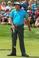 Phil Mickelson (USA) reacts to barely missing his putt on 3 during 1st round of the World Golf Championships - Bridgestone Invitational, at the Firestone Country Club, Akron, Ohio. 8/2/2018.<br /> Picture: Golffile | Ken Murray<br /> <br /> <br /> All photo usage must carry mandatory copyright credit (© Golffile | Ken Murray)