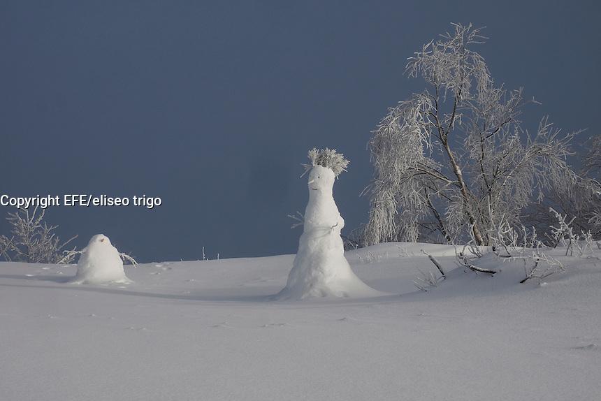 Fecha: 19-01-2015. LUGO.- La ola de frio que llego el Domingo a España, se asienta este lunes con nevadas generalizadas en el pais. La nieve cubrio en cotas bajas y las placas de hielo fueron peligrosas. En la imagen unos muñecos de nieve en el alto de O Poio