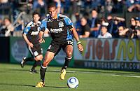 Ryan Johnson controls the ball. Toronto FC defeated the San Jose Earthquakes 3-1 at Buck Shaw Stadium in Santa Clara, California on May 29th, 2010.