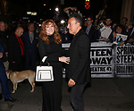 Patti Scialfa and Bruce Springsteen leaving the Walter Kerr Theater for the official opening night  performance of 'Springsteen On Broadway' on October 12, 2017 in New York City.