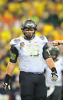 Jan 10, 2011; Glendale, AZ, USA; Oregon Ducks tackle (79) Mark Asper against the Auburn Tigers during the 2011 BCS National Championship game at University of Phoenix Stadium. The Tigers defeated the Ducks 22-19. Mandatory Credit: Mark J. Rebilas-