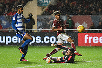 Bobby Reid of Bristol City is denied by Vito Mannone of Reading during the Sky Bet Championship match between Bristol City and Reading at Ashton Gate, Bristol, England on 26 December 2017. Photo by Paul Paxford.