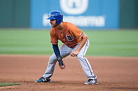 Patrick Leonard (30) of the Durham Bulls takes his lead off of first base against the Charlotte Knights at BB&T BallPark on May 16, 2017 in Charlotte, North Carolina.  The Knights defeated the Bulls 5-3. (Brian Westerholt/Four Seam Images)