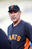 San Francisco Giants Manager Bruce Bochy #15 before a game against the Los Angeles Dodgers at Dodger Stadium on October 02, 2012 in Los Angeles, California. San Francisco defeated Los Angeles 4-3. (Larry Goren/Four Seam Images)