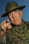 Getting the Full Metal Jacket treatment from actor R. Lee Ermey on his ranch in California, 2002
