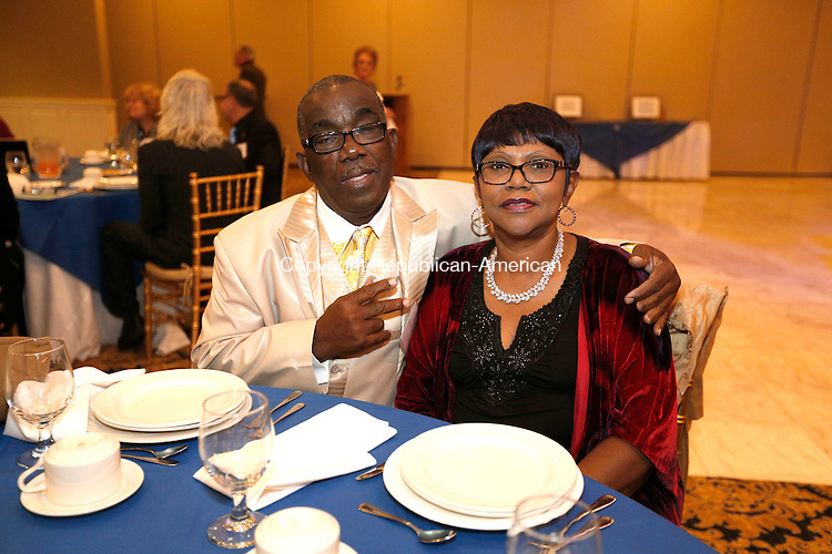 WATERTOWN, CT- 12 November 2016-111216CM13- Social Moments from left, John and Florence Woods of Waterbury are photographed during the Naugatuck Valley Project's 4th Annual Micah Awards Dinner at the Grand Oak Villa in Oakville on Saturday.    Christopher Massa Republican-American