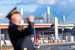 NEW HAVEN, CT. 06 December 2018-120618 - Taps is played during the dedication ceremonies of the Pearl Harbor Memorial Park located below the Pearl Harbor Memorial Bridge in New Haven on Thursday. Bill Shettle Republican-American