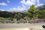 The peloton lead by Astana Pro Team on the Cat 2 climb to Puerto de Confrides during Stage 2 of La Vuelta 2019 running 199.6km from Benidorm to Calpe, Spain. 25th August 2019.<br /> Picture: Eoin Clarke | Cyclefile<br /> <br /> All photos usage must carry mandatory copyright credit (© Cyclefile | Eoin Clarke)