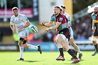 Mike Brown of Harlequins passes the ball. Gallagher Premiership match, between Harlequins and Gloucester Rugby on March 10, 2019 at the Twickenham Stoop in London, England. Photo by: Patrick Khachfe / JMP