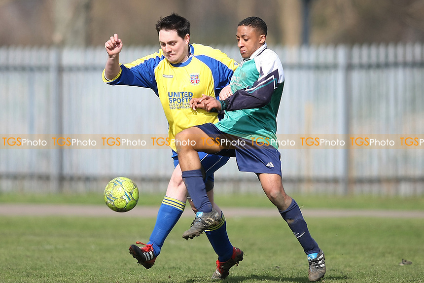 Elm Park Eagles (Green) v Athletico Bardag (Yellow)- Essex Sunday Corinthian League Football -Barking Park18/03/12 - MANDATORY CREDIT: George Phillipou/TGSPHOTO - Self billing applies where appropriate - 0845 094 6026 - contact@tgsphoto.co.uk - NO UNPAID USE.