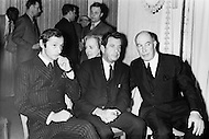 New York City, New York, USA, circa January 1969. Marc Bohan sits with model agency founder Eileen Ford, LaGardere group CEO Jean-Luc LaGardere, and Jack Rouet, director of Dior. Bohan was a designer for Dior, and at the time was presenting the Dior Monsieur line in New York.
