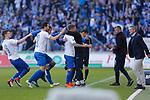magdeburg nach tor zum 1:0 durch Philip T&uuml;rpitz (Magdeburg, 8) Jubel, Torjubel, jubelt &uuml;ber das Tor, celebrate the goal, celebration, rechts Jens H&auml;rtel (Magdeburg, Trainer) und Mario Kallnik (Magdeburg, Gesch&auml;ftsf&uuml;hrer) beim Spiel in der 3. Liga, 1. FC Magdeburg - Karlsruher SC.<br /> <br /> Foto &copy; PIX-Sportfotos *** Foto ist honorarpflichtig! *** Auf Anfrage in hoeherer Qualitaet/Aufloesung. Belegexemplar erbeten. Veroeffentlichung ausschliesslich fuer journalistisch-publizistische Zwecke. For editorial use only.