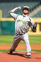 Baylor Bears pitcher Drew Tolson (27) delivers a pitch to the plate during Houston College Classic against the Hawaii Rainbow Warriors on March 6, 2015 at Minute Maid Park in Houston, Texas. Hawaii defeated Baylor 2-1. (Andrew Woolley/Four Seam Images)