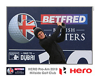 Marcus Kinhult (SWE) on the 10th tee during the Pro-Am of the Betfred British Masters 2019 at Hillside Golf Club, Southport, Lancashire, England. 08/05/19<br /> <br /> Picture: Thos Caffrey / Golffile<br /> <br /> All photos usage must carry mandatory copyright credit (© Golffile | Thos Caffrey)