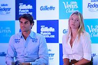 ATENÇÃO EDITOR: FOTO EMBARGADA PARA VEÍCULOS INTERNACIONAIS. SAO PAULO, SP, 06 DE DEZEMBRO DE 2012. APRESENTAÇÃO DO TORNEIO GILLETTE FEDERER TOUR.  durante a apresentação do novo torneio Gillette Federer Tour,  na manhã desta quinta feira na zona sul da capital paulista. O Gillette Federer Tour reunirá, durante quatro dias, o melhor do tênis mundial, no Ginásio do Ibirapuera, de 6 a 9 de dezembro, com a participação de grandes estrelas como Roger Federer, Tommy Haas, Thomaz Bellucci, Jo-Wilfried Tsonga, Tommy Robredo, Victoria Azarenka, Maria Sharapova, Serena Williams, Caroline Wozniacki, Bob e Mike Bryan e Marcelo Melo e Bruno Soares.  FOTO ADRIANA SPACA - BRAZIL PHOTO PRESS