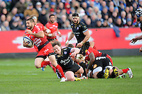 Sébastien Tillous-Borde of RC Toulon accelerates past the outstretched arm of Nick Auterac of Bath Rugby during the European Rugby Champions Cup match between Bath Rugby and RC Toulon - 23/01/2016 - The Recreation Ground, Bath Mandatory Credit: Rob Munro/Stewart Communications