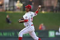Starting pitcher Bryan Mata (21) of the Greenville Drive delivers a pitch in a game against the Rome Braves on Wednesday, May 31, 2017, at Fluor Field at the West End in Greenville, South Carolina. Greenville won, 7-1. (Tom Priddy/Four Seam Images)