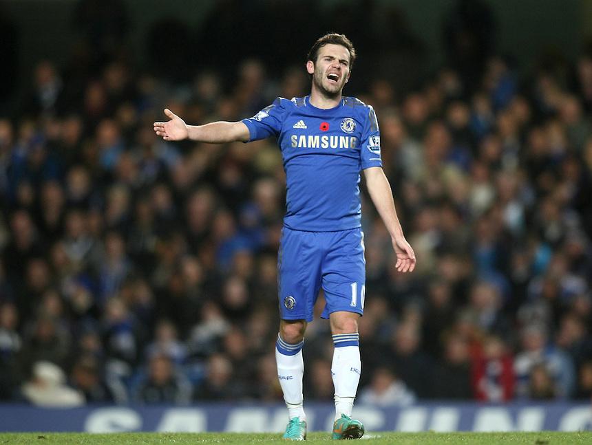 Chelsea's Juan Mata reacts..Football - Barclays Premiership - Chelsea v Liverpool - Sunday 11th November 2012 - Stamford Bridge - London..
