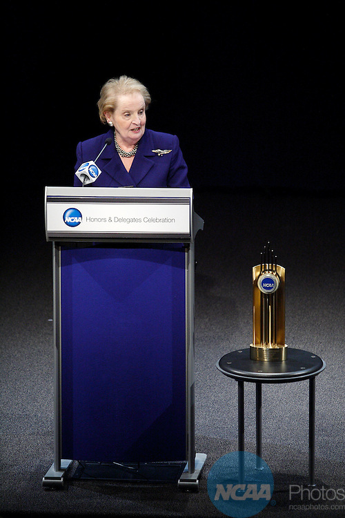 2009 Jan 15: Former Secretary of State and Wellesly College graduate Madeline Albright addresses the crowd after receiving the Theodore Roosevelt Award during the 2009 NCAA Honors Celebration at the Newseum in Washington D.C.  ©Trevor Brown, Jr./NCAA Photos.