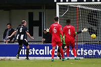 Lewis Godbold of Heybridge scores the first goal for his team and celebrates during Heybridge Swifts vs Carshalton Athletic, FA Trophy Football at The Aspen Waite Arena on 7th October 2017