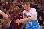 League ACB-ENDESA 2018/2019. Game: 14.<br /> FC Barcelona Lassa vs Monbus Obradoiro: 79-73.<br /> Kevin Seraphin vs Tryggvi Hlinason.