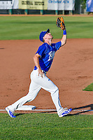 Brock Carpenter (23) of the Ogden Raptors lines up under a fly ball on defense against the Idaho Falls Chukars in Pioneer League action at Lindquist Field on June 28, 2016 in Ogden, Utah. The Raptors defeated the Chukars 12-11. (Stephen Smith/Four Seam Images)