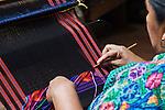 Latin America, Guatemala, San Antonio, Woman Weaving Textiles
