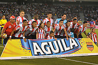 BARRANQUILLA- COLOMBIA -20 -02-2016: Los jugadores de Atletico Junior posan para una foto durante partido entre Atletico Junior y Deportivo Pasto, de la fecha 5 de la Liga Aguila I-2016, jugado en el estadio Metropolitano Roberto Melendez de la ciudad de Barranquilla.  / The players of Atletico Junior pose for a photo, during a match between Atletico Junior and Deportivo Pasto, for date 5 of the Liga Aguila I-2016 at the Metropolitano Roberto Melendez Stadium in Barranquilla city, Photo: VizzorImage  / Alfonso Cervantes / Cont.