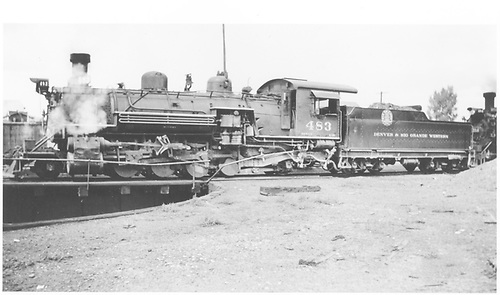 Fireman side view of K-36 #483 on turntable at Chama.<br /> D&amp;RGW  Chama, NM  Taken by George, Preston - 9/21/1936