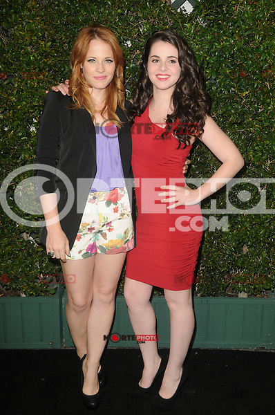 Katie Leclerc and Vanessa Marano at the ABC Family West Coast Upfronts party at The Sayers Club on May 1, 2012 in Hollywood, California. © mpi35/MediaPunch Inc.