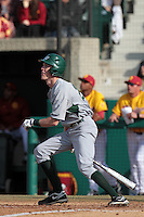 Taylor Ratliff (26) of the Jacksonville Dolphins bats against the USC Trojans at Dedeaux Field on February 19, 2012 in Los Angeles,California. USC defeated Jacksonville 4-3.(Larry Goren/Four Seam Images)