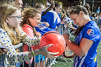Boston, MA - Saturday April 29, 2017: Allysha Chapman and fans during a regular season National Women's Soccer League (NWSL) match between the Boston Breakers and Seattle Reign FC at Jordan Field.