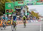 Esteban Chaves (COL) Orica-Bike Exchange wins the 110th edition of Il Lombardia NamedSport 2016 cycle race from Diego Rosa (ITA) Astana 2nd place and Rigoberto Uran Uran (COL) Cannondale-Drapac 3rd, running 241 km from Como to Bergamo, Italy. 1st October 2016.<br /> Picture: ANSA/Claudio Peri | Newsfile<br /> <br /> <br /> All photos usage must carry mandatory copyright credit (© Newsfile | Matteo Bazzi)