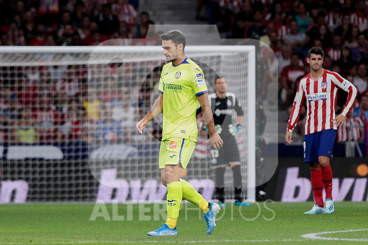 Getafe CF's Jorge Molina dejected during La Liga match between Atletico de Madrid and Getafe CF at Wanda Metropolitano Stadium in Madrid, Spain. August 18, 2019. (ALTERPHOTOS/A. Perez Meca)