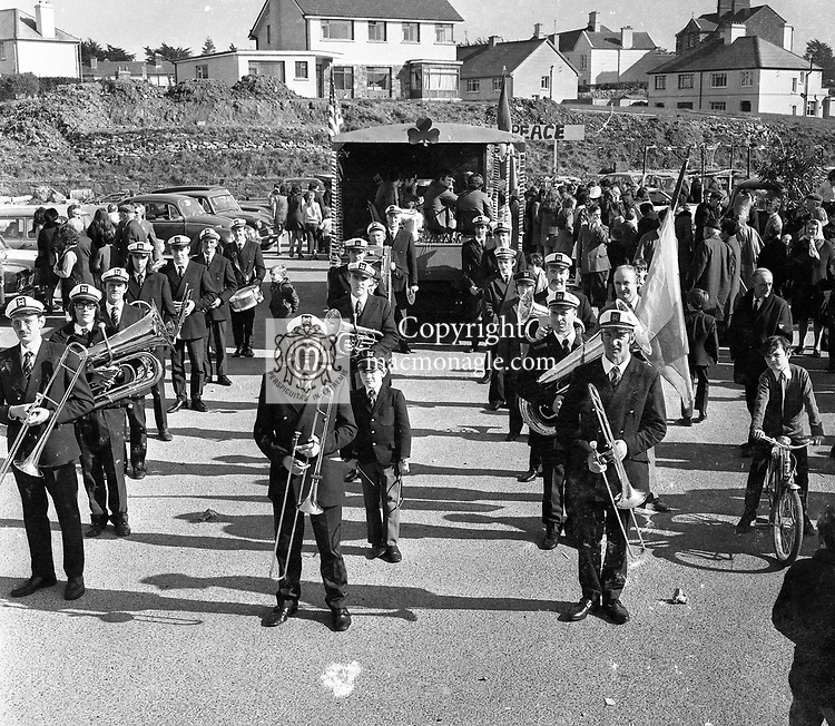 The Killarney Brass and Reed Band leading the 1973 St Patrick's Day parade through the town. Left hand side, front to back, Mossie Kelly, John Carroll, Mick Horgan, Mike Murphy, Pat Shortt, Timmy Corkery and Joe Campbell. Centre, front to back, Tim O'Meara, John O'Mahony, Jim Doyle, Tim Bartlett, Paddy O'Mahony and Tom Murphy. Right hand side from front to back, Johnny Foran, Danno Foran, Geoff O'Donoghue, Barney Moloney (partly hidden), Harry Bartlett, DJ Fleming and Tim Lynch. The tri-colour bearer to the right of picture is Christy ODonoghue/<br /> Picture by Don MacMonagle