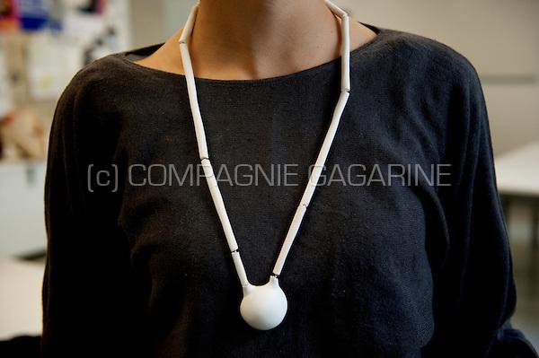 Portrait and serie of jewelry designer Ine Theuwissen and her work (Belgium, 01/06/2010)