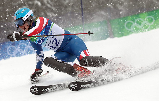 USA's Hailey Duke cuts to enter a gate during the women's slalom at the XXI Olympic Winter Games Friday, February 26, 2010 in Whistler, British Columbia.
