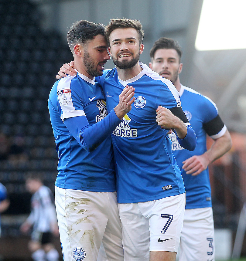 Peterborough United's Gwion Edwards celebrates scoring his sides second goal <br /> <br /> Photographer Mick Walker/CameraSport<br /> <br /> The Emirates FA Cup Second Round - Notts County v Peterborough United - Sunday 4th December 2016 - Meadow Lane - Nottingham<br />  <br /> World Copyright &copy; 2016 CameraSport. All rights reserved. 43 Linden Ave. Countesthorpe. Leicester. England. LE8 5PG - Tel: +44 (0) 116 277 4147 - admin@camerasport.com - www.camerasport.com